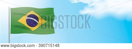 The Official Flag Of Brazil Waving On A Blue Sky Background. Horizontal Vector Banner Design, With T