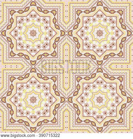 Retro Victorian Majolica Tile Seamless Pattern. Geometric Texture Vector Motif. Clothes Print Design