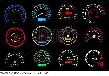 Car Dashboard Speedometer Or Speed Meter Dial Vector Icons Of Auto Racing Sport. Motor Vehicle Gauge