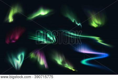 Aurora Northern, Polar And Southern Lights Realistic Vector On Night Sky Background. Aurora Polaris,