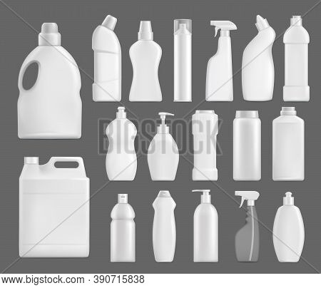 Household Chemicals Vector Bottles, Detergent Blank Packages Mockup. White Realistic Plastic Tubes W