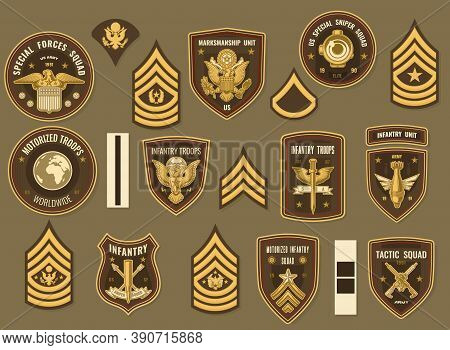 United States Army Military Vector Chevrons For Officer Uniform. Special Forces And Tactic Squad, Ma