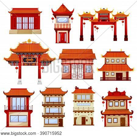 Chinese Buildings, Temples Architecture. Traditional China Town With Pagoda And Gate Decorated With