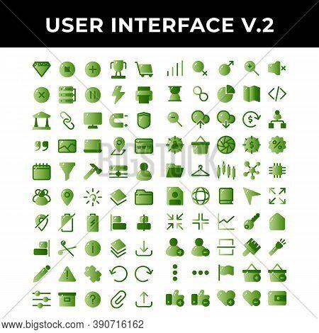 User Interface Icons Set Include Diamond,pause,plus,achievement,shopping,cross,data Base,pause,energ