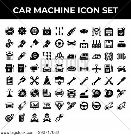 Car Machine Icon Set Include Laptop, Machine, Call, Center, Safety, Shock, Breaker, Washer