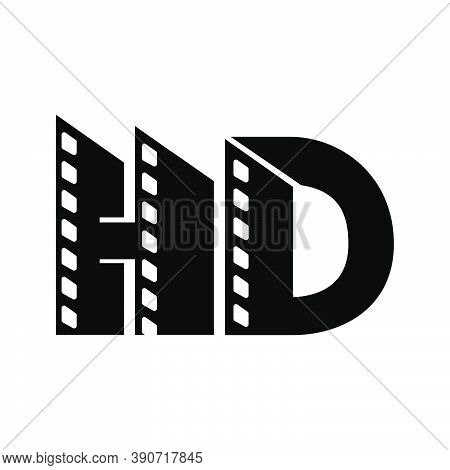 Letter Hd Initial Logo For High Definition With Negative Film Strip