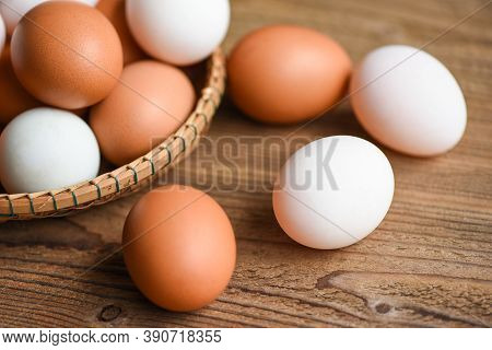 Fresh Chicken Eggs And Duck Eggs Collect From Farm Products Natural In A Basket Healthy Eating Conce
