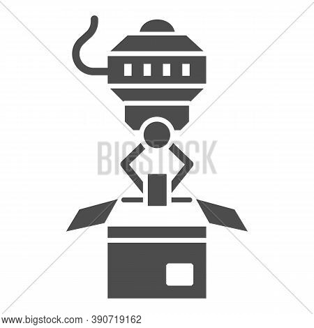 Robot Loader Solid Icon, Robotization Concept, Robotic Packaging Sign On White Background, Industria