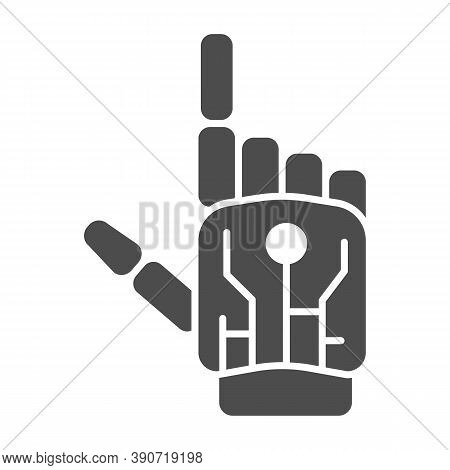 Robot Mechanical Arm Solid Icon, Robotization Concept, Robotic Hand Sign On White Background, Roboti