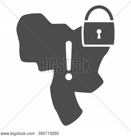 Country Under Lock And Warning Sign Solid Icon, Economic Sanctions Concept, Country Lockdown Sign On