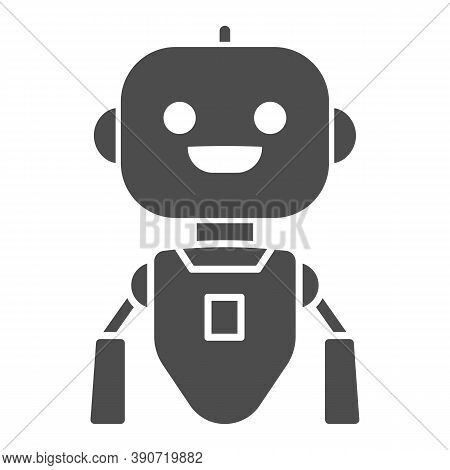 Cheerful Flying Robot Solid Icon, Robotization Concept, Robot Toy Sign On White Background, Flying R