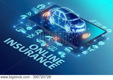 Concept of buying insurance online - 3d rendering