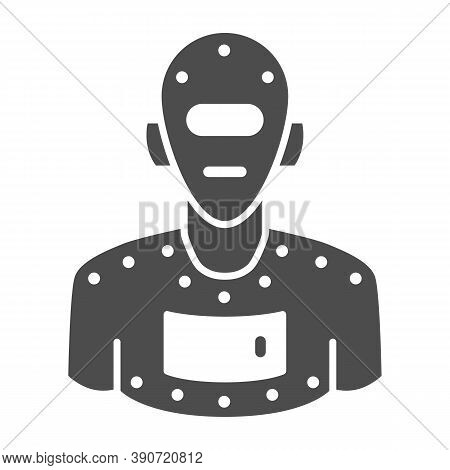 Steel Robot Solid Icon, Robotization Concept, Cyborg Robot Sign On White Background, Robotic Man Sil