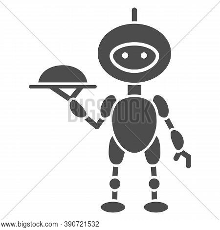 Robot Waiter Solid Icon, Robotization Concept, Future Restaurant Service Sign On White Background, W