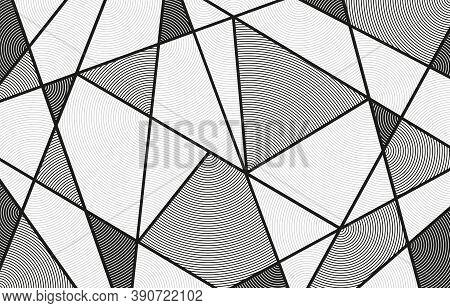 Polygon Line Circle, Abstract Polygonal Lines Monochrome With Circle Line Inside, Abstract Geometric