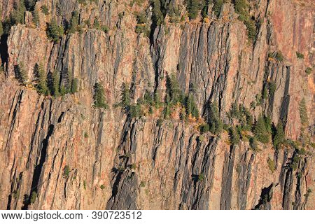 Rock formations due to erosion at Black canyon along Gunnison river in Colorado