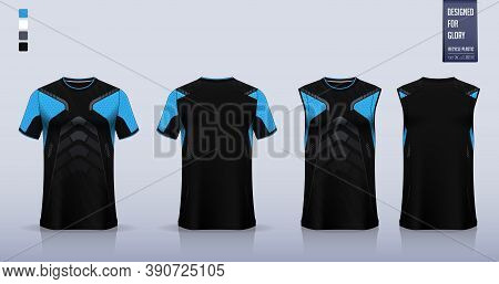 Black T-shirt Mockup, Sport Shirt Template Design For Soccer Jersey, Football Kit. Tank Top For Bask