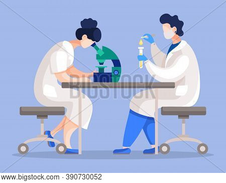 Scientists Working In Laboratory, People Examining Substances Or Cell. Man And Woman Using Microscop