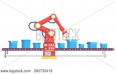 Factory Product Line Workplace With Crane Electronic Equipment And Packages On Way. Steel Manufactur