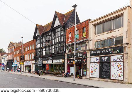 Southampton, United Kingdom - April 24, 2019: Southampton Street View, Ordinary People Walk The Abov