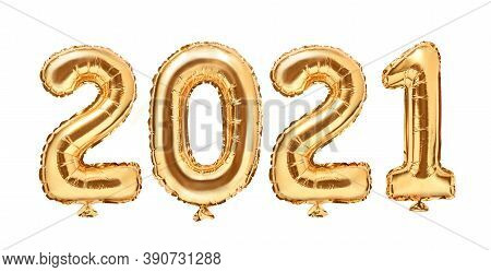 Gold Foil Balloons Numeral 2021. Happy New Year 2021 Holiday. 2021 Golden Decoration Holiday On Whit