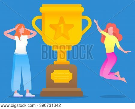 Happy Woman Jumping Near Golden Trophy Award, Prize For Research In Flat Cartoon Style Isolated. Vec