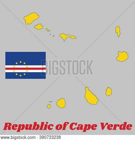 Map Outline And Flag Of Cape Verde, Horizontal Bands Of Blue White And Red With The Circle Of Ten St