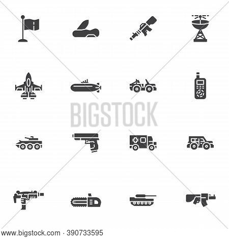 Military Ammunition Vector Icons Set, Modern Solid Symbol Collection, Filled Style Pictogram Pack. S