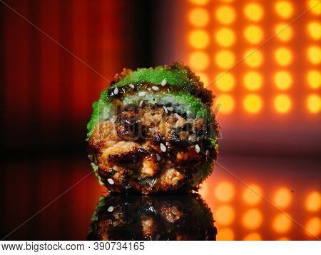 Baked Sushi Roll With Green Tobiko Caviar