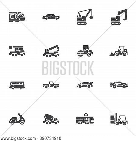 Transportation Vector Icons Set, Modern Solid Symbol Collection, Filled Style Pictogram Pack. Signs,