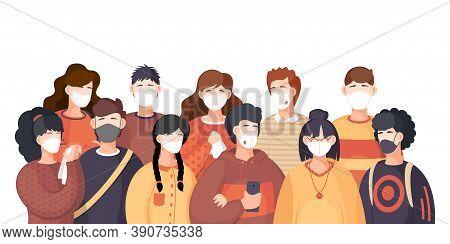 Covid-19, Crowd Of People In Respiratory Medical Mask. Coronavirus Epidemic In Usa. Spreading Virus