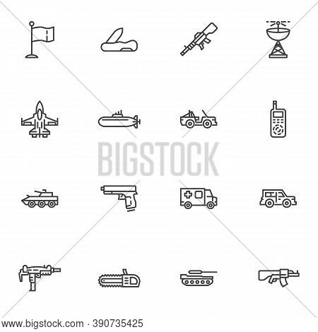Military Ammunition Line Icons Set, Outline Vector Symbol Collection, Linear Style Pictogram Pack. S