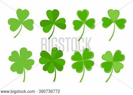 Green Clover Leaf Flat Style Design Vector Illustration Set. St Patricks Day Shamrock Symbols Decora