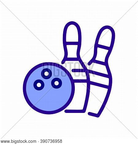 Bowling Line Icon. Bowling Activity Vector Illustration Isolated On White. Skittles And Ball For Bow