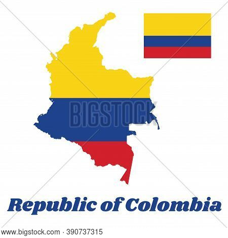 Map Outline Of Colombia, A Horizontal Tricolor Of Yellow (double-width), Blue And Red, Text Name Rep