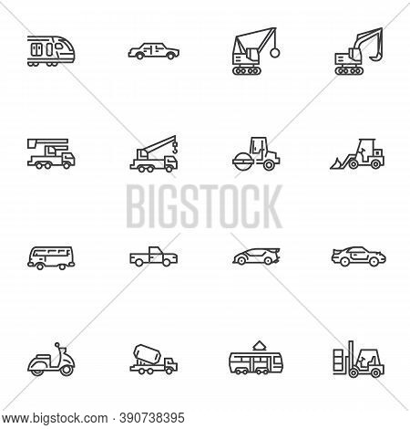 Transportation Line Icons Set, Outline Vector Symbol Collection, Linear Style Pictogram Pack. Signs,
