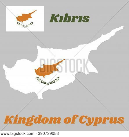 Map Outline And Flag Of Cyprus,  An Outline Of The Country Of Cyprus Above Twin Olive Branches On A