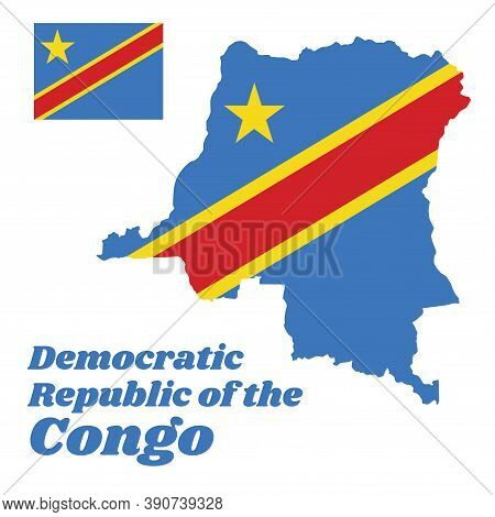 Map Outline And Flag Of Dr Congo, Sky Blue Flag, Adorned With A Yellow Star In The Upper Left Canton