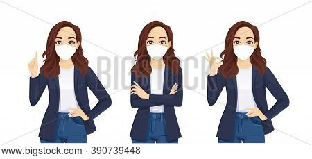 Sad Beautiful Business Casual Woman Wearing Protective Mask As Protection Against Transmissible Infe