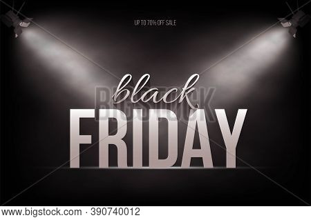 Black Friday Sale Poster Background. Premium Offer With Discounts Advert. White Font Under Searchlig