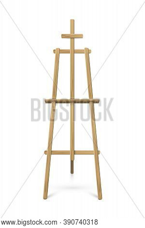 Easel Standing On White Background. Wooden Tripod For Art, Painting, Drawing Or Announcement Vector