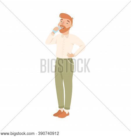 Bearded Man Drinking Clean Water From Plastic Bottle, Man Quenching Thirst, Healthy Lifestyle Concep