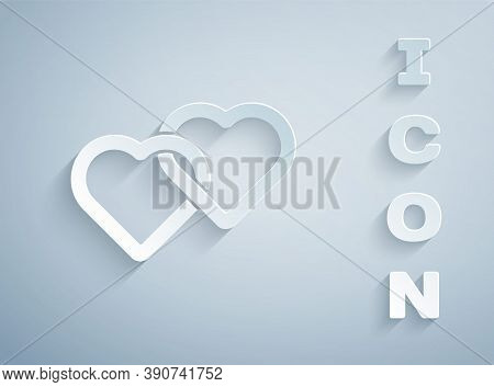 Paper Cut Two Linked Hearts Icon Isolated On Grey Background. Romantic Symbol Linked, Join, Passion