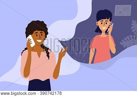 Couple Of Young Women Talking On Mobile Phone. Black Girl Calling Friend By Smartphone. People Conve