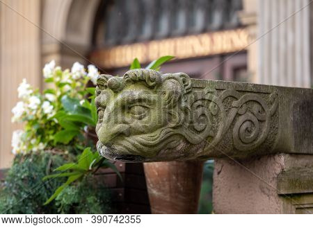 Gargoyle At Mariacka Street, The Main Shopping Street For Amber And Jewelry In The Old Hanseatic Cit