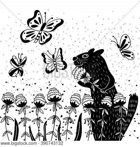 Rodent Enjoys The Scent Of Clover.black And White Greeting Card With Funny Animal. Vector Graphics
