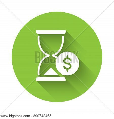 White Hourglass With Dollar Icon Isolated With Long Shadow. Money Time. Sandglass And Money. Growth,