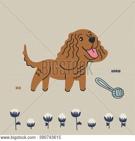 Vector American Water Spaniel Dog And Scandinavian Style Flower Illustration Graphic Resource