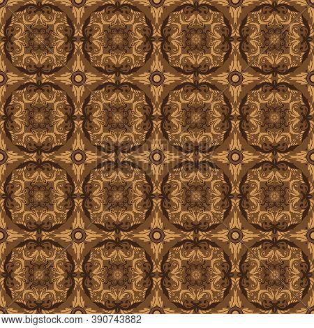 Unique Circle Patterns Concept On Parang Batik With Golden Brown Color Design.
