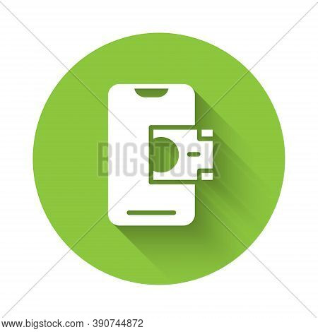 White Mobile Banking Icon Isolated With Long Shadow. Transfer Money Through Mobile Banking On The Mo